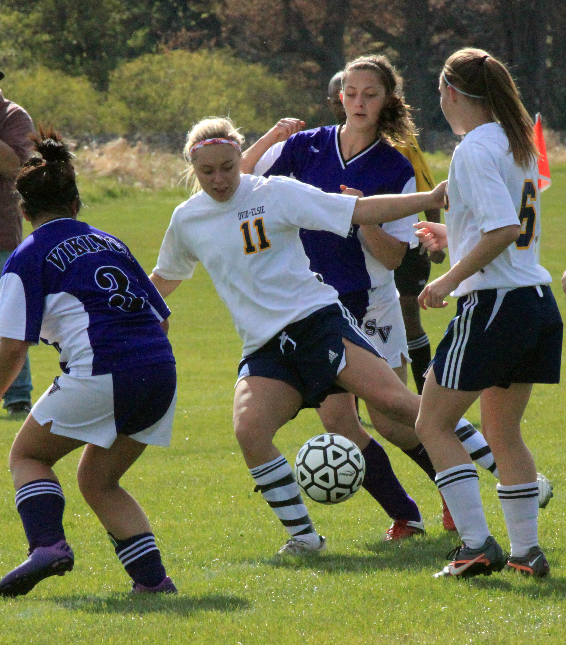 Junior Mya Hall defends against players from Swan Valley. Photo by Taylor Bebow.