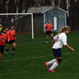 O-E is facing against Alma. The JV girls soccer had a victory. |Photo by: Annika Fountain