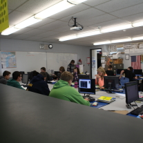 Students work in one of teacher Bonnie Ott's business classes.   Photo by Brittany Moore