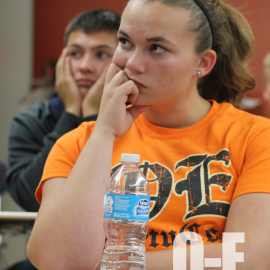 Junior Tori Olger pays close attention at a Student Council meeting. | Photo by Lindsay Benham