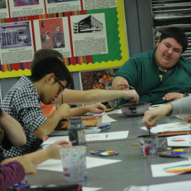 The students enjoy painting in Mrs.Weber's class. Photo by|Rebecca McClure