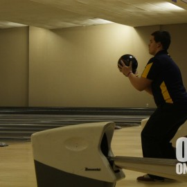 Senior Collin Freeman showing his skills at a bowling meet. |Photo by Jeanelle Courtnay
