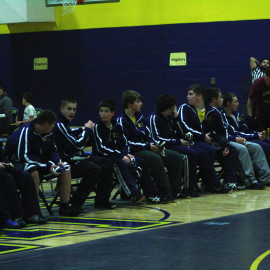 The middle school wrestling team waits for the next meet. | Photo by Molly Maynard