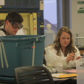 Juniors Clayton Alaga and Rebecca Thompson prepare for a Science Olympiad competition. | Photo by Molly Maynard